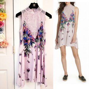 New FREE PEOPLE Floral Lace Knit Shift Dress XS
